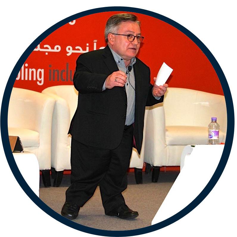 Simon Minty speaking at conference in Qatar